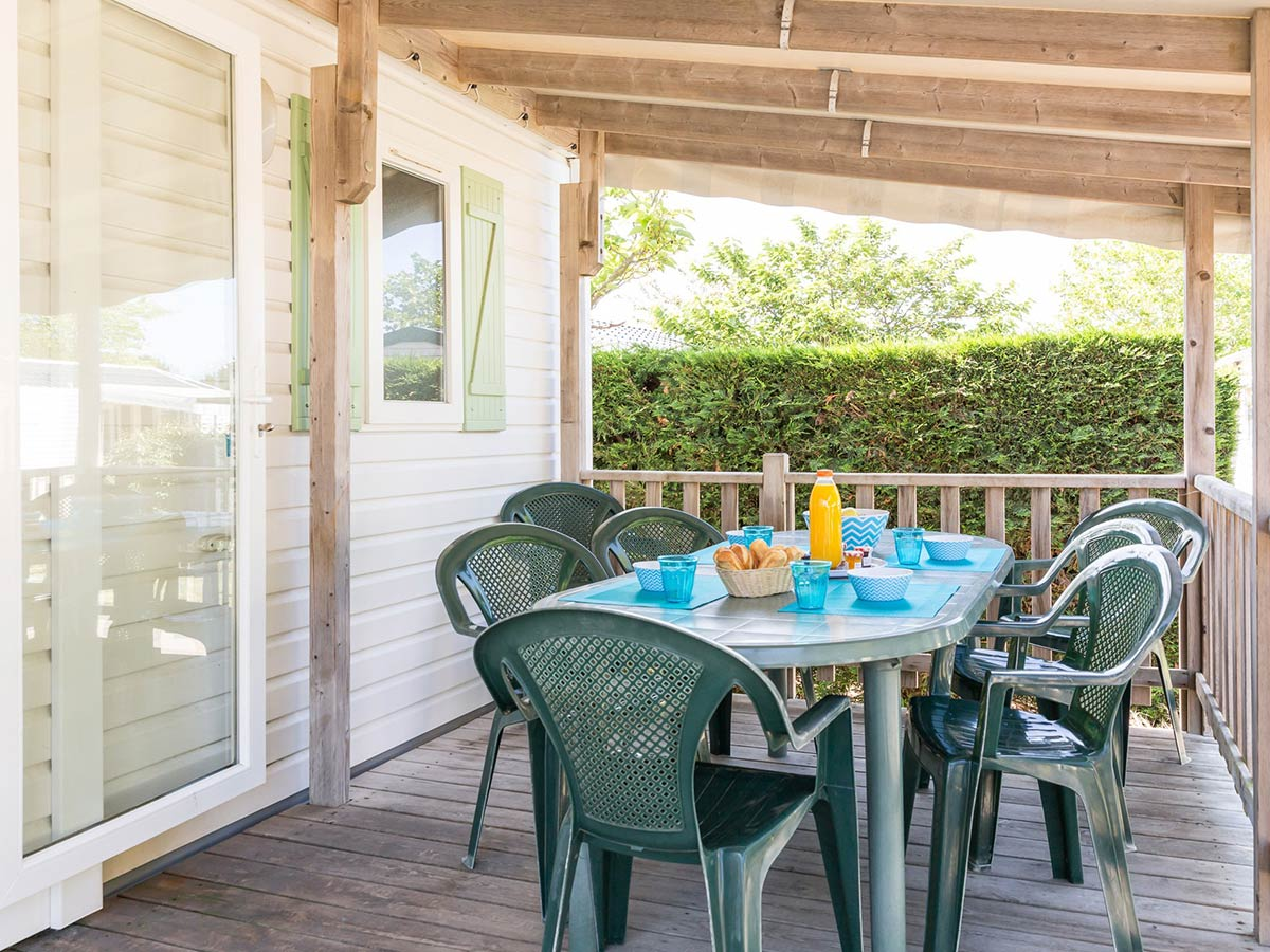 terrasse Location mobilhome Bahamas 3 chambres 6/8 personnes